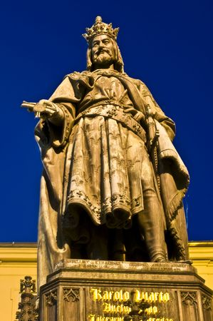 statue of Charles V in Prague at night