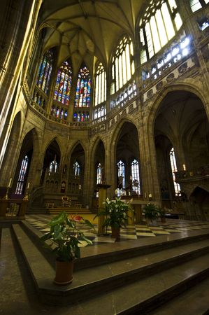 beautiful interior of the St Vitus Cathedral in Prague