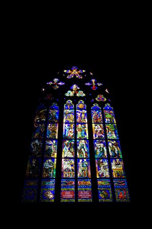 beautiful stained glass window in the cathedral of Prague photo