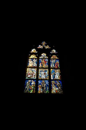 beautiful stained glass window in the cathedral of Prague Stock Photo - 5889881
