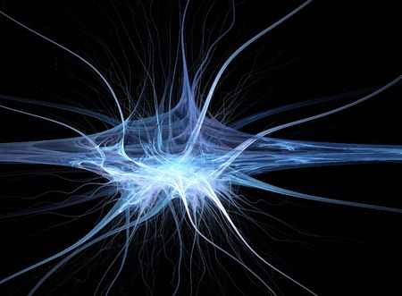 connecting: fractal looking like a synapse with many nerve ends