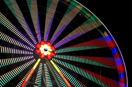 motion blur of a colorful ferris wheel at night photo