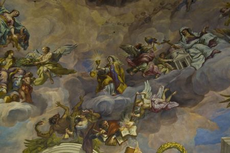 temple of heaven: detail of the fresco in the Karlskirche in Vienna