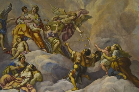 statuary: detail of the fresco in the Karlskirche in Vienna