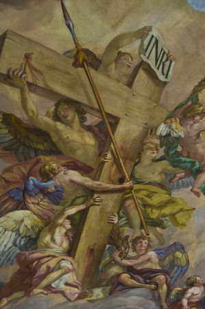religiosity: detail of the fresco in the Karlskirche in Vienna