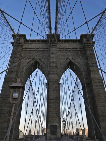 view of the Brooklyn Bridge in New York City photo
