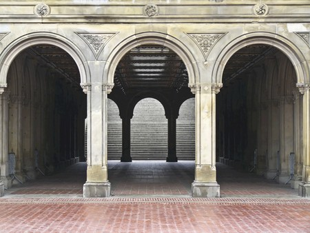 beautiful tunnel to the lower level of Bethesda Terrace in Central Park, NYC photo