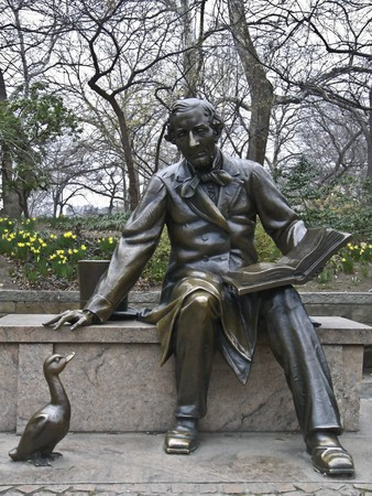 sculpture of Hans Christian Andersen in the Central Park, NYC Stock Photo