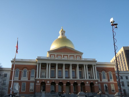 huge State House in Boston, Massachusetts on a sunny day photo