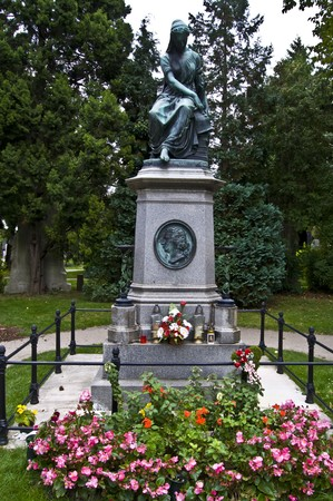 mozart: memorial of Wolfgang Amadeus Mozart on the central cemetery in Vienna Stock Photo