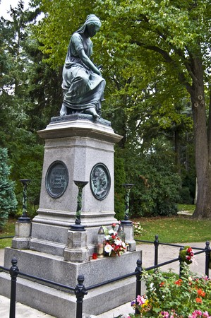 amadeus: memorial of Wolfgang Amadeus Mozart on the central cemetery in Vienna Stock Photo