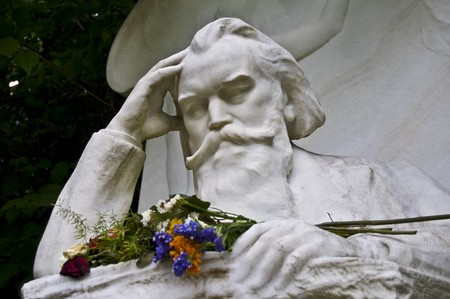 johannes: tombstone of Johannes Brahms on the central cemetery in Vienna