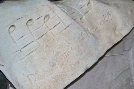 franz: detail of the tombstone of Franz Suppe