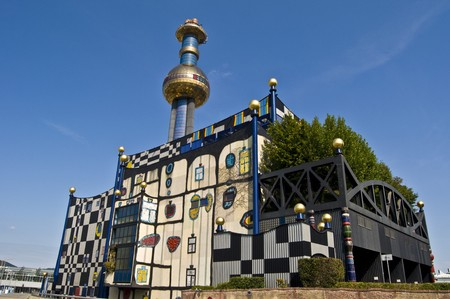 colourfully: detail of the colorful community heating plant designed by Hundertwasser in Vienna