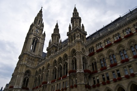 beautiful exterior of the city hall of Vienna photo