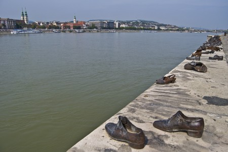 danuba: shoes symbolizing the massacre of people shot at the Danube in Budapest