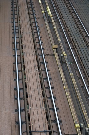 train tracks of the public transport seen from above photo