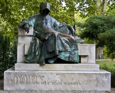 anonymus: monument for an anonymous but famous hungarian writer