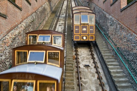 old funicular climbing up the castle hill in Budapest photo