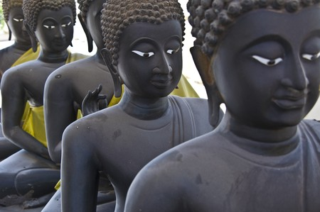 lots of statues of buddha sitting in lines Stock Photo - 8272229