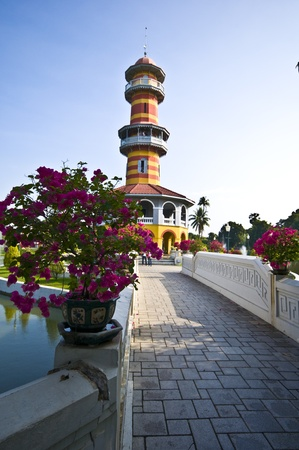 bang pa in: tower in the palace area of Bang Pa In Stock Photo