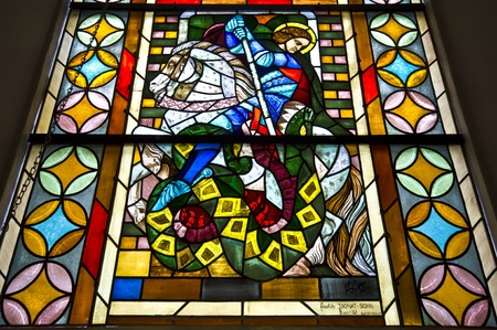 stained glass window showing St George in a church in Hattingen