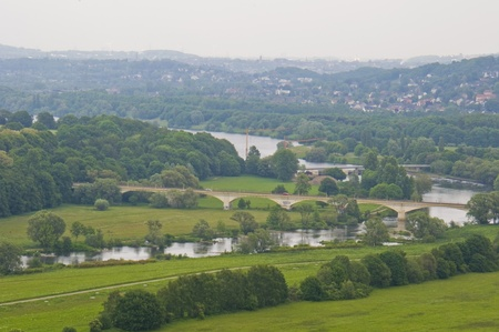 ruhr: view of the river Ruhr and its valley near Hattingen Stock Photo