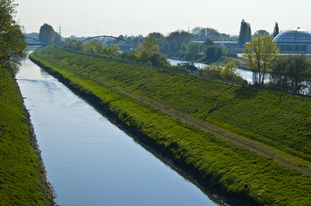 westfalen: view of the rhine-herne canal and the river Emscher in Oberhausen