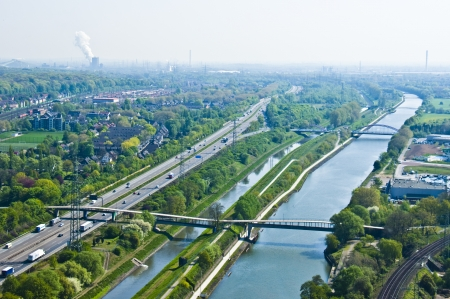view of the rhine-herne canal and the river Emscher in Oberhausen