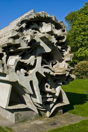 beethoven: cement sculpture showing a portrait of Beethoven