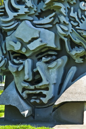 cement sculpture showing a portrait of Beethoven