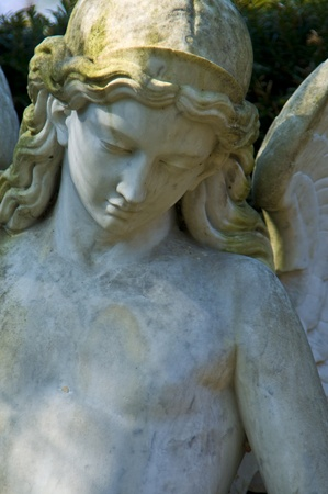 angel statue: detail of an old marble tombstone at the old cemetery in Bonn Stock Photo