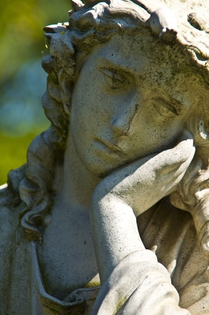 detail of an old marble tombstone at the old cemetery in Bonn photo