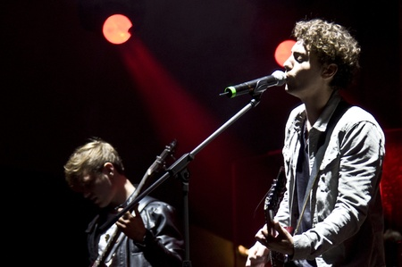 laternenfest: HALLE, GERMANY - AUGUST 27: Singer Trevor Brown and Bassist Kevin Dollerschell of the Band The Black Pony perform at the 75th Laternenfest on August 27, 2011 in Halle, Germany.