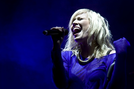 HALLE, GERMANY - AUGUST 27: Natasha Bedingfield performs at the 75th Laternenfest on August 27, 2011 in Halle, Germany. Stock Photo - 10404214
