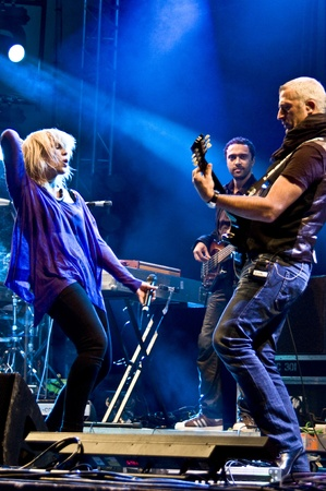 laternenfest: HALLE, GERMANY - AUGUST 27: Natasha Bedingfield performs with her band at the 75th Laternenfest on August 27, 2011 in Halle, Germany.