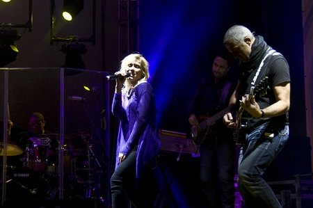 HALLE, GERMANY - AUGUST 27: Natasha Bedingfield performs with her band at the 75th Laternenfest on August 27, 2011 in Halle, Germany. Stock Photo - 10404259