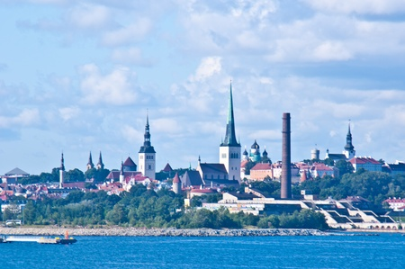 view of the cityscape of Tallinn from the sea photo