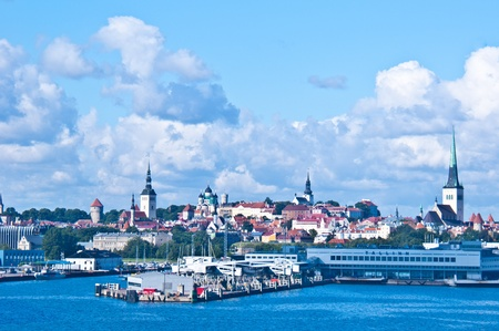 view of the cityscape of Tallinn from the sea