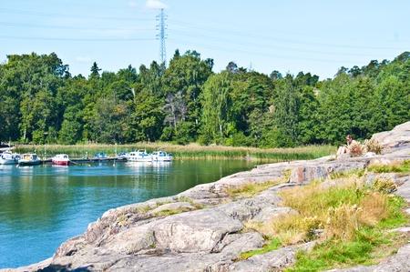 rocky park at the seashore in Helsinki photo