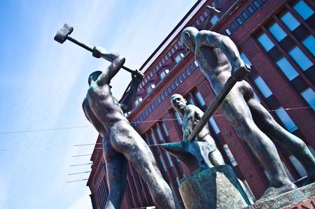 monument of the three blacksmiths in Helsinki