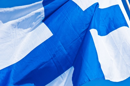 finnish flag fluttering in the wind on a sunny day Stock Photo - 10962148