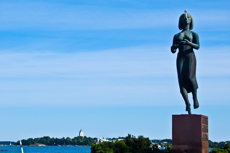 view of Suomenlinna from the promenade of Helsinki photo