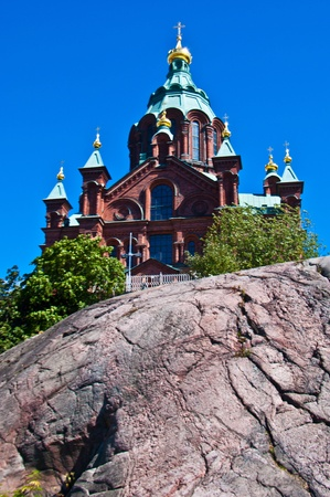 view of the Uspenski cathedral in Helsinki photo