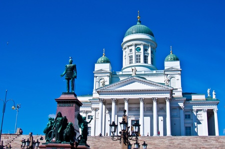 view of the senate square with the cathedral in Helsinki Stock Photo - 11534661