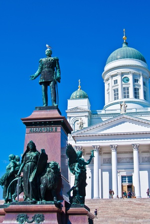 view of the senate square with the cathedral in Helsinki photo