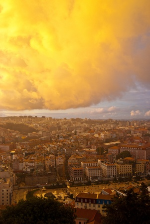 view over the roofs of Lisbon from the castle photo