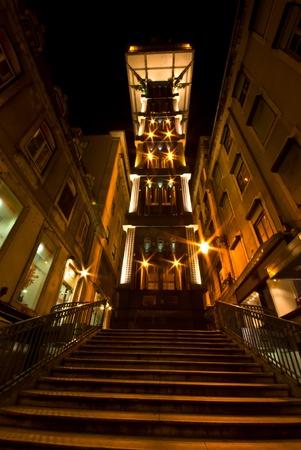 view of the illuminated Elevador de Santa Justa in Lisbon photo