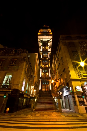 view of the illuminated Elevador de Santa Justa in Lisbon