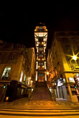 elevador: view of the illuminated Elevador de Santa Justa in Lisbon